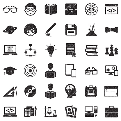 Geek Icons. Black Scribble Design. Vector Illustration.
