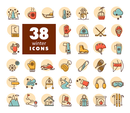 Winter vector icon set. Wintertime