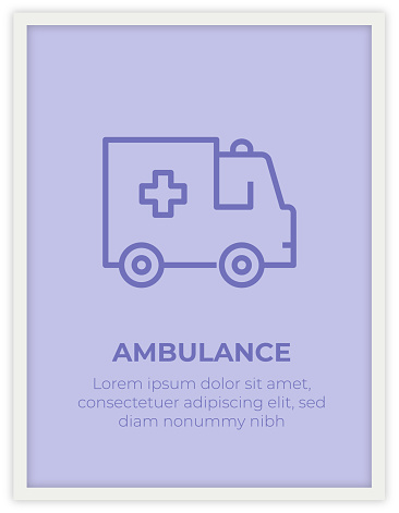 AMBULANCE SINGLE ICON POSTER DESIGN