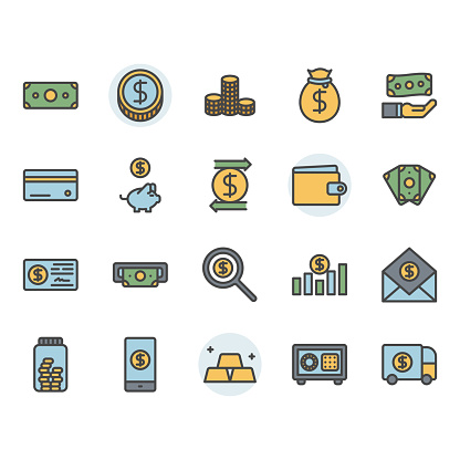 Filled outline icons set