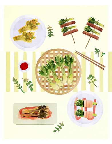 음식, 봄, 탑앵글 (카메라앵글), 제철음식, 잎, 두릅, 전