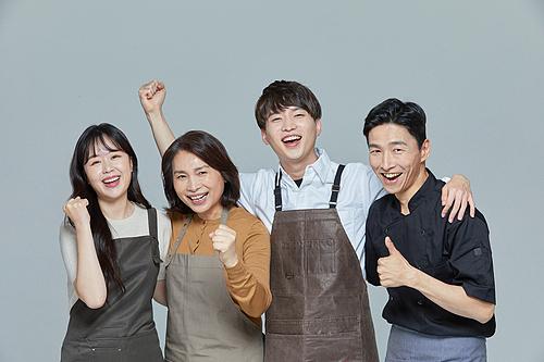 한국인, 상인 (소매업자), 어깨동무, 파이팅 (흔들기), 자신감