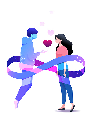 인공지능, 사랑 (컨셉), 애정표현 (밝은표정), 대화, 아바타, 메타버스, 뫼비우스띠 (인조물건)