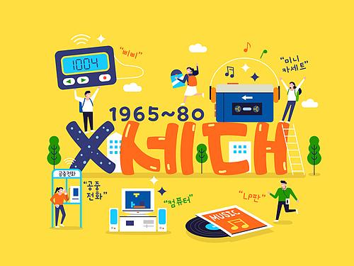 타이포그래피 (문자), 세대차이 (나이차이), 사람, 무선호출기 (원거리통신장비), 오디오카세트 (아날로그오디오소프트웨어), 공중전화, 컴퓨터 (컴퓨터장비)