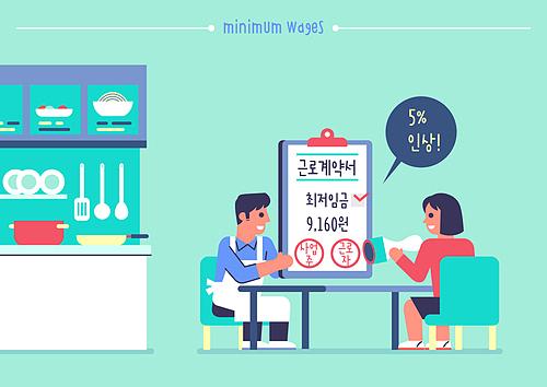 사람, 시간제근무 (직업), 최저임금 (급여), CEO (책임자), 계약 (서류), 계약