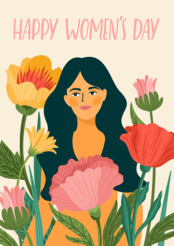 International Women s Day. Vector template with woman and flowers for card, poster, flyer and othe