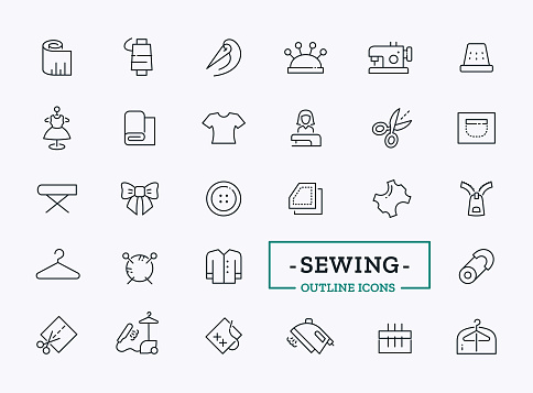 Thin line icons for tailor shop