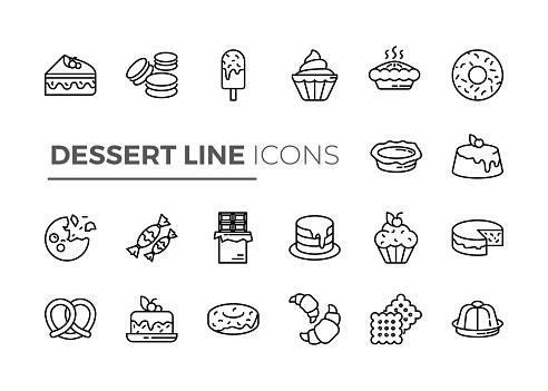 Black line icon set