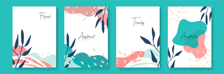 Floral design for social media stories templates with leaves and waves universal creative organic boho design collection
