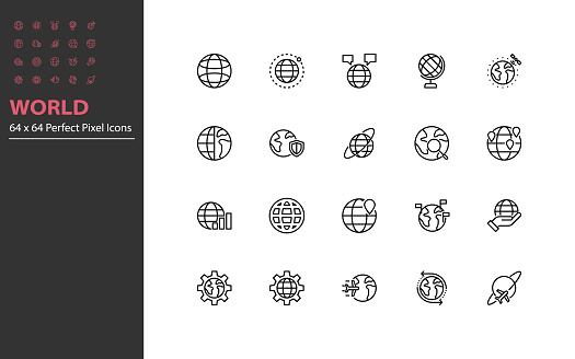 Set of world thin line icons