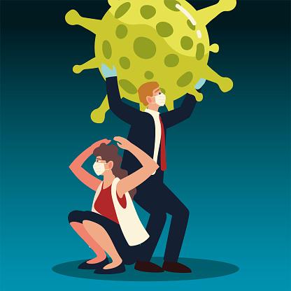 바이러스와 싸우는 직장인