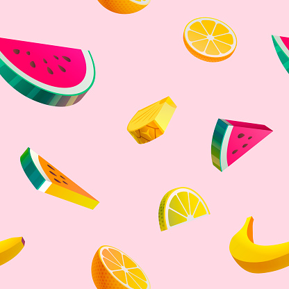 Colored fruit seamless pattern.
