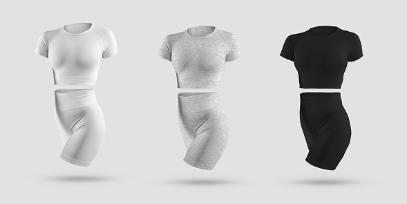 Mockup crop top, cycling shorts, compression suit 3D rendering in white, black, gray heather, isolated on background