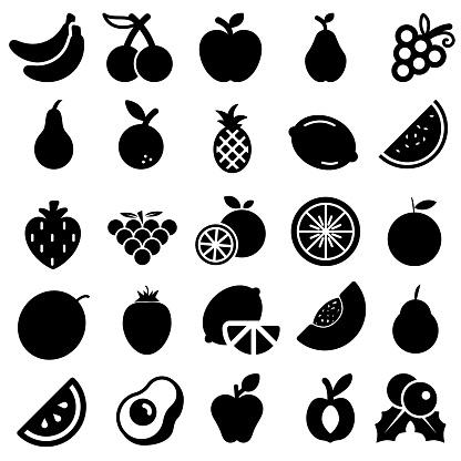 Fruits vector icon set. vitamin illustration sign collection. tropical symbol or logo.