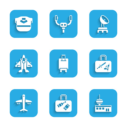 Set Suitcase, Airport control tower, Plane, Jet fighter, Radar and Pilot hat icon. Vector