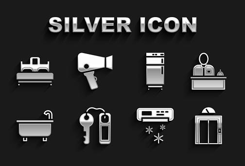 Set Hotel door lock key, reception desk, Lift, Air conditioner, Bathtub, Refrigerator, Bedroom and Hair dryer icon. Vector