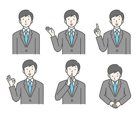 Various poses of businessmen