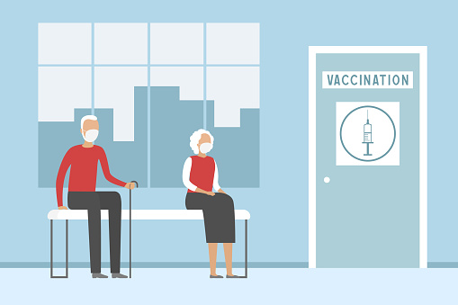 Aged people in vaccination station. Vector illustration