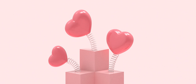 Love Podium Valentine's day on Pink Background and Red Heart With Care Concept . banner for greeting card, copy space - 3d rendering