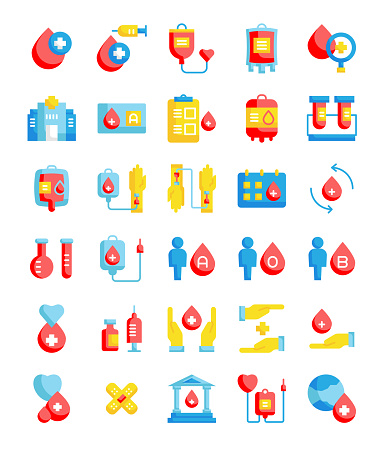 set of 30 blood donation   icons pack in simple flat style
