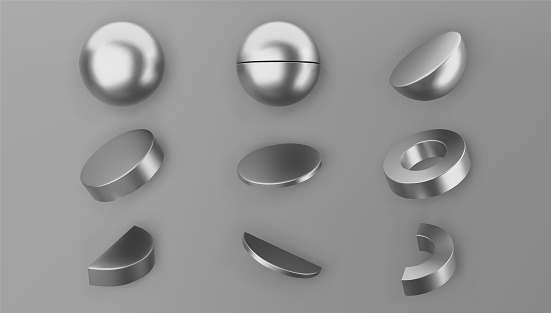 3d render silver geometric shapes objects set isolated on grey background. Metal glossy realistic primitives - sphere, cylinder, pipe with shadows. Abstract decorative vector figure for trendy design