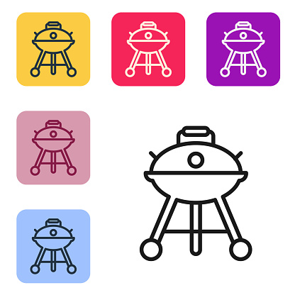 Black line Barbecue grill icon isolated on white background. BBQ grill party. Set icons in color square buttons. Vector
