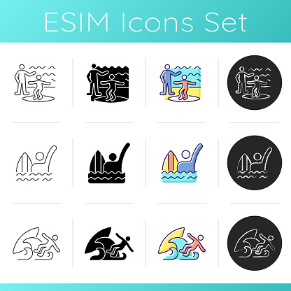 Surfboarding icons set