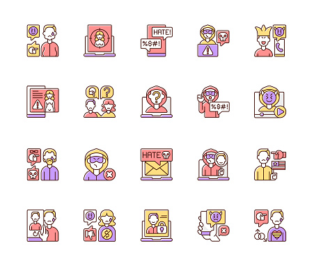 Cyberbullying color icons set