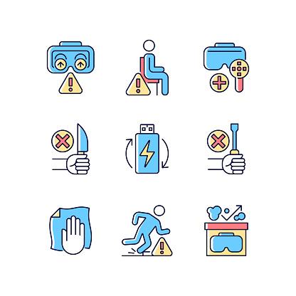 Vr glasses instructions RGB color manual label icons set