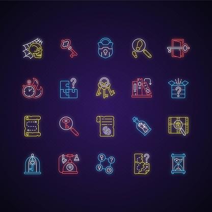 Escape room icons set