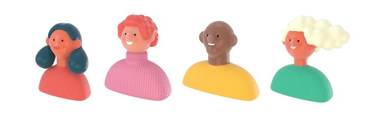 3D Bright people portraits set