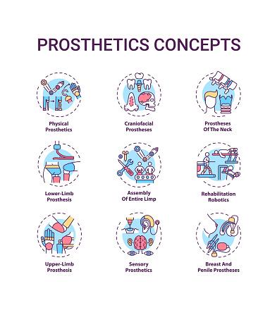 Prosthetics concept icons set