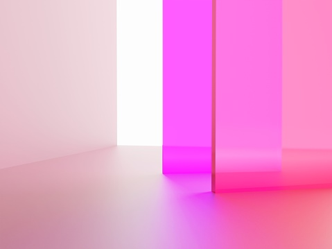 3D Rendering Studio Shot Vibrant or Neon Pink Transparent Acrylic Board Overlapping Background for Fashion, Cosmetics and Trendy Products.