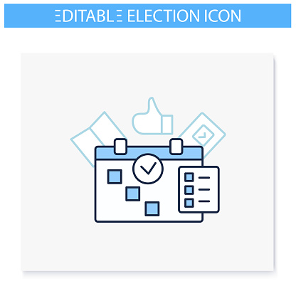 Election line icons set