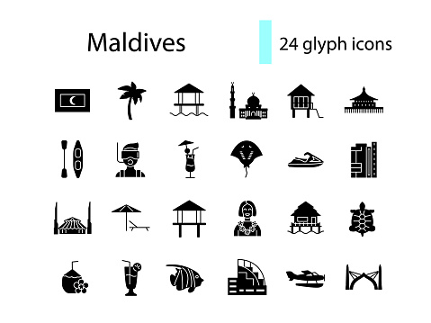 Maldives glyph icons set. Tropical attributes, guide. Beach resort. Country attraction. Isolated vector illustration