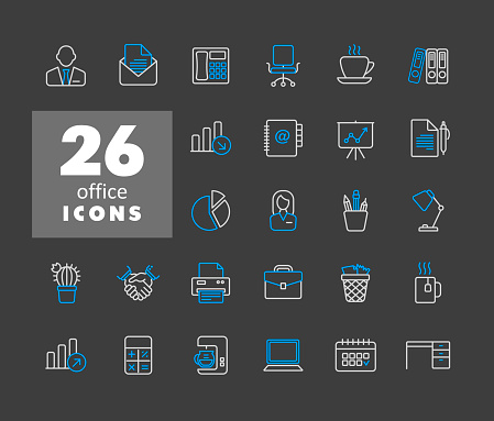 Office vector icons set isolated on the white
