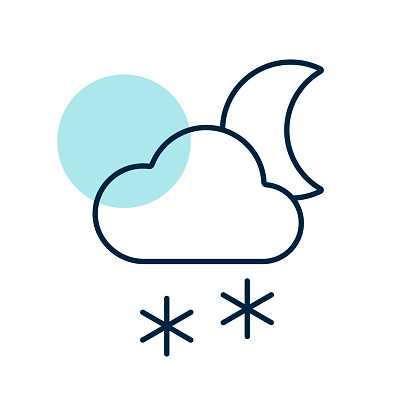 Cloud with snow moon vector icon. Weather sign