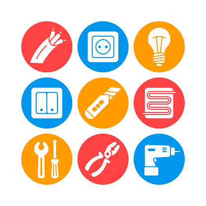 Home repair, electric vector white glyph icons set