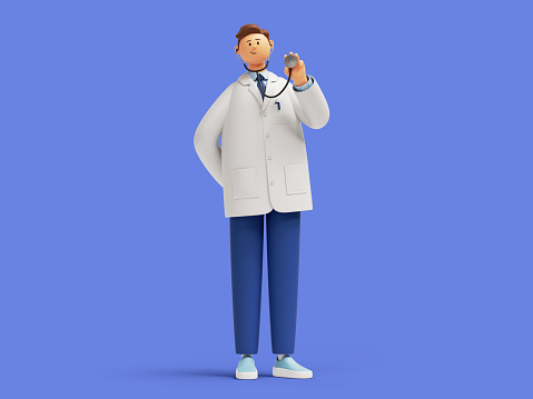 3d render. Doctor cartoon character wears white coat and holds stethoscope. Professional therapist. Clip art isolated on blue background
