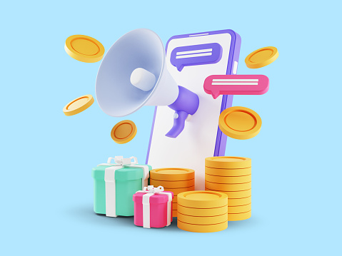 3d render of Refer A Friend Concept, People share info about referral and earn money. Isolated on blue background