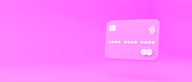 white credit card abstract minimal pink orange pastel tilted background 3d rendering business concept