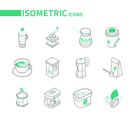 Set of modern line isometric icons