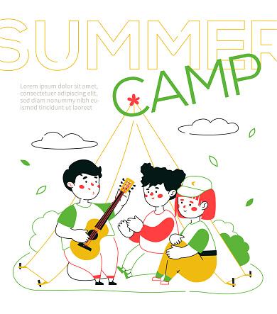 Children camping - colorful line design style illustration