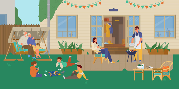 마당에서 휴식을 취하는 가족