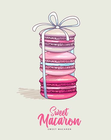 Three colorful sweet macarons cakes on with ribbon. French macaroons. Junk food background