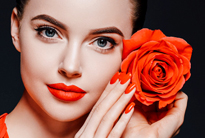 Beauty woman with rose flower