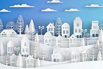 Winter snow city landscape