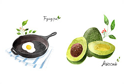 아이콘_수채화 음식 아이콘