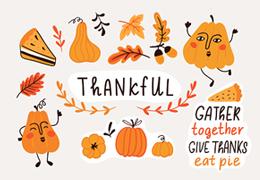 Pumpkins and leaves illustration