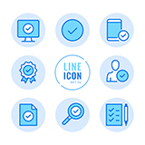 Set of 9 blue icons